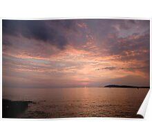 Sundown over the Adriatic coastline Poster