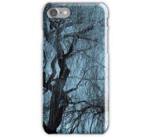 Blue tree monochrome autumn willow iPhone Case/Skin