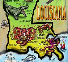 Louisiana Cartoon Map by Kevin Middleton