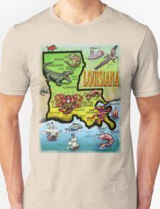 Louisiana Cartoon Map T-Shirt