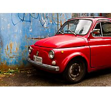 Vintage and rustic little red car Photographic Print
