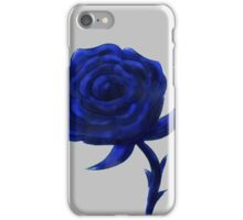 Blue rose on stem iPhone Case/Skin