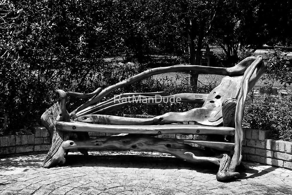 Wooden Park Bench - BW by RatManDude