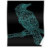 Neon Light Blue Bird Poster