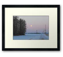 Moonset over the Prairies, Alberta Framed Print