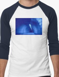 Blue Wormhole in Space Tunnel Photo Edit Men's Baseball ¾ T-Shirt