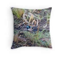 Little Blue Wren Throw Pillow
