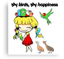 My birds my happiness cute cartoon Canvas Print