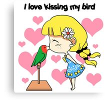 I love kissing my bird cute cartoon Canvas Print