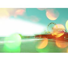 Santa Monica Pier Green Orange Photographic Print