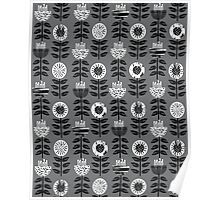 Scandi - modern flower floral pattern scandinavia design retro mid century print monochromatic grey black and white Poster