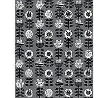 Scandi - modern flower floral pattern scandinavia design retro mid century print monochromatic grey black and white Photographic Print