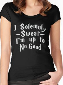 I Solemnly Swear I'm Up To No Good, White Ink | Women's Harry Potter Quote, Deathly Hallows Women's Fitted Scoop T-Shirt
