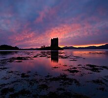 Scotland: Sunset at Castle Stalker by Angie Latham