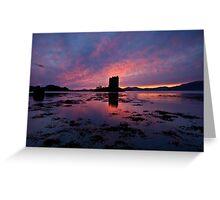 Scotland: Sunset at Castle Stalker Greeting Card
