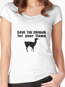 Save the drama for your llama geek funny nerd Women's Fitted Scoop T-Shirt