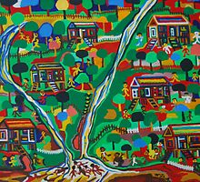 Happy Village Scene by gallerywaja