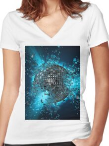 Disco planet explosion Women's Fitted V-Neck T-Shirt