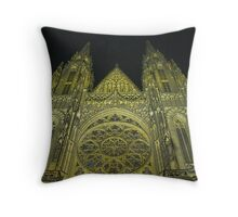 Rose Window by Night Throw Pillow