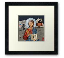 Jeeezus Mooner Framed Print