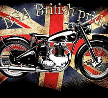 Vintage Classic British BSA Motorcycle Icon by patjila