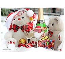 Teddy Bears White  Christmas Party Poster