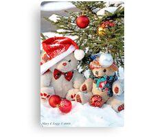 Fatso Teddy bear and Erasmus Bear under the outdoor Christmas Tree Canvas Print