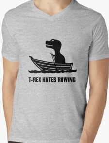T rex hates rowing geek funny nerd Mens V-Neck T-Shirt