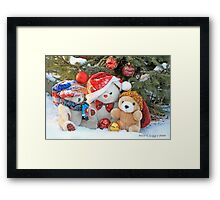 Three teddy bear friends  under the outdoor Christmas Tree Framed Print