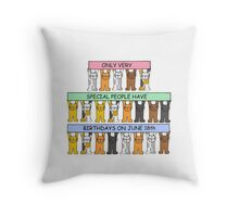 Cats celebrating June 18th birthday. Throw Pillow