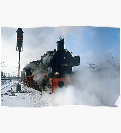 Steam Locomotive approaching, Germany, 1985. Poster