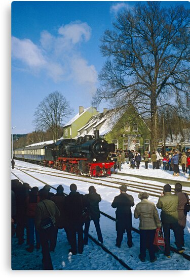 Steam train posing for photographers, Germany, 1985. by David A. L. Davies