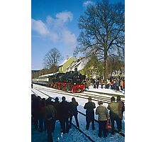 Steam train posing for photographers, Germany, 1985. Photographic Print