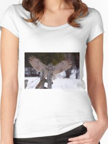 Great Grey Owl Women's Fitted Scoop T-Shirt