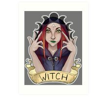 Witch with Crescent Moons Art Print