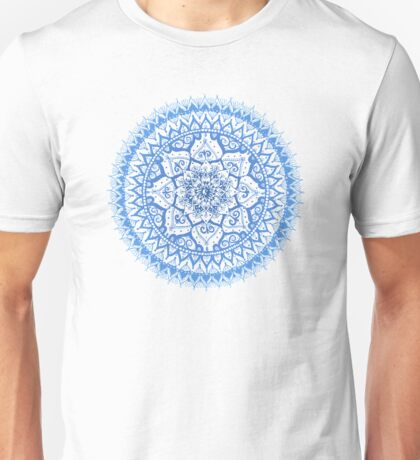 Yin Yang Mandala in Soft Blues Unisex T-Shirt
