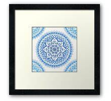 Yin Yang Mandala in Soft Blues Framed Print