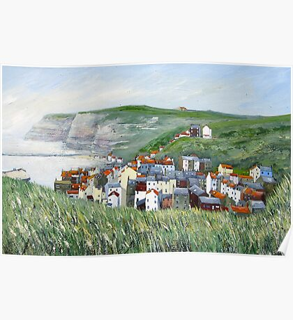 View from Cowbar, Staithes. Poster