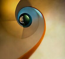 Spiral stairs in pastels by JBlaminsky