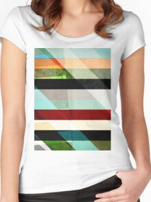 Colorful Textured Abstract Women's Fitted Scoop T-Shirt