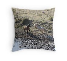 Mud Fight Throw Pillow