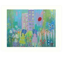 two girls chasing a balloon Art Print
