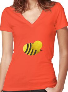 Cute Bumble Bee Fabric Collage Women's Fitted V-Neck T-Shirt