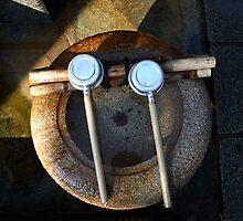 Stone water bowl in Japan by Tony Roddam