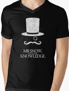 Mr Snow, You Lack Knowledge - White on Black Mens V-Neck T-Shirt