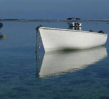 Boat Reflections in Mauritius by Keith Richardson
