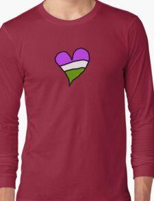 Genderqueer Pride Heart Long Sleeve T-Shirt