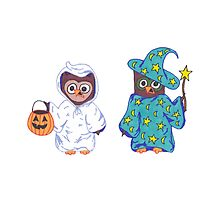 Trick or Treating Halloween Cartoon Owls by Rachel Corona