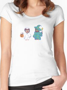 Trick or Treating Halloween Cartoon Owls Women's Fitted Scoop T-Shirt