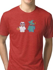 Trick or Treating Halloween Cartoon Owls Tri-blend T-Shirt